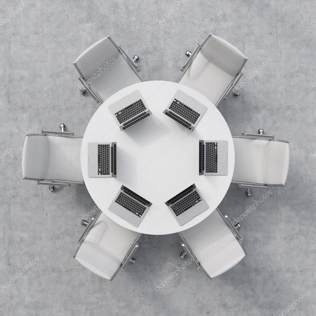 Table and chairs top view - Top View Of A Conference Room A White Round Table Six Chairs Six