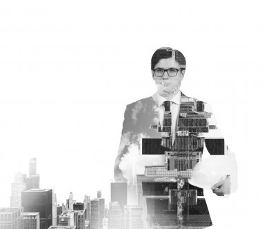 Abstract black and white Image of transparent businessman's Silhouettes. New York cityscape. Isolated.