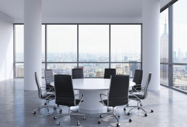 Panoramic conference room in modern office, New York City view. Black chairs and a white round table. 3D rendering.