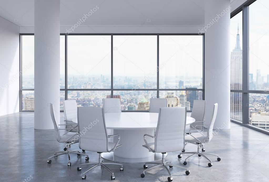 panoramic conference room in modern office in new york city white