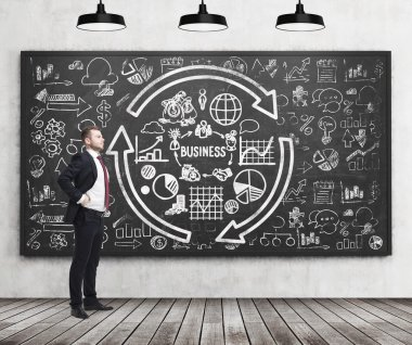 Full length of a confident handsome man who presents some business plan on the black chalkboard. A concept of the professional management of start up project. Business icons are drawn on the chalkboar