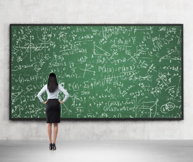 Full length of the rear view of the brunette lady who is looking at the math formulas which are drawn on the green chalkboard. A concept of university education.