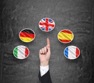 A concept of foreign language studying process. A finger is pointing out the Unites Kingdom flag as a priority in choice of foreign languages. Black chalkboard background.