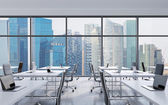 Photo Workplaces in a modern panoramic office, Singapore city view from the windows. Open space. White tables and black leather chairs. A concept of financial consulting services. 3D rendering.