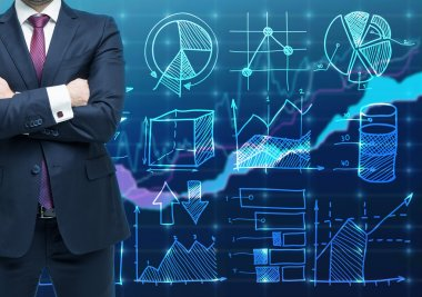 A person with crossed hands and in formal suit as a trader or analyst. Financial chart on the background. The concept of forex trading.