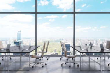 Workplaces in a modern panoramic office, New York city view from the windows. Open space. Black tables and brown leather chairs. A concept of financial consulting services. 3D rendering.
