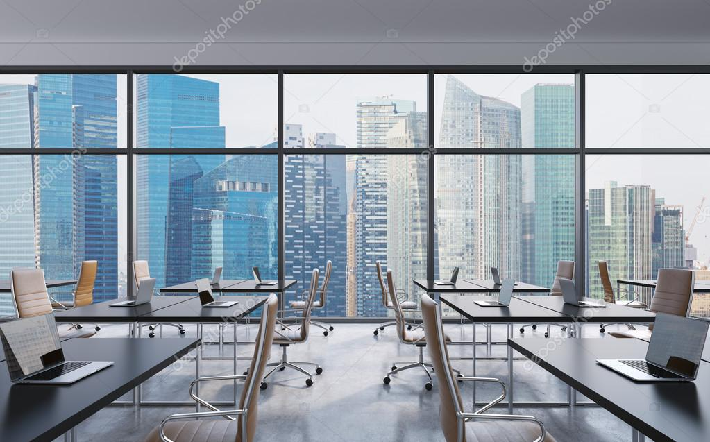 Workplaces in a modern panoramic office, Singapore city view from the windows. Open space. Black tables and brown leather chairs. A concept of financial consulting services. 3D rendering.