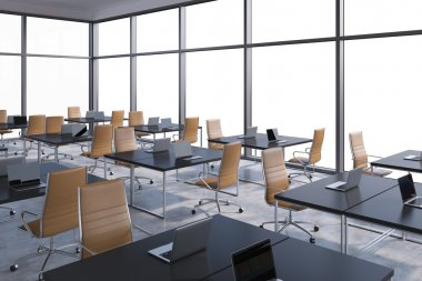 Workplaces in a modern corner panoramic office, copy space in the windows. Open space. Black tables and brown leather chairs. A concept of financial international services. 3D rendering.