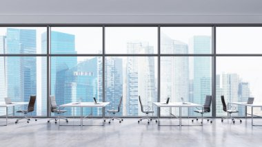 Workplaces in a modern panoramic office, Singapore city view in the windows. Open space. White tables and black leather chairs. A concept of financial consulting services. 3D rendering.