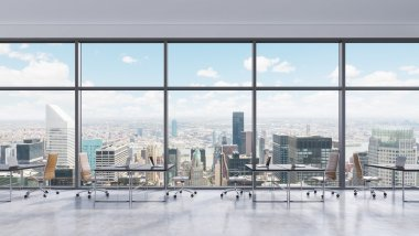 Workplaces in a modern panoramic office, New York city view in the windows, Manhattan. Open space. Black tables and brown leather chairs. A concept of financial consulting services. 3D rendering.
