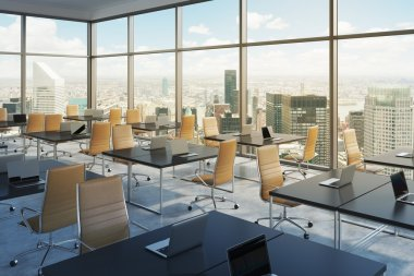 Workplaces in a modern corner panoramic office, New York city view, Manhattan. Open space. Black tables and brown leather chairs. A concept of financial international services. 3D rendering. Toning.