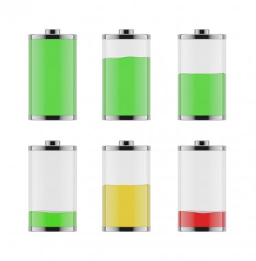 An illustration of the six batteries with different level of charge from low to full. On white background.