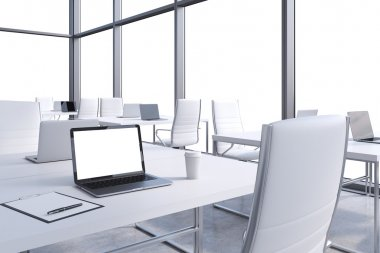 Workplaces in a modern corner panoramic office, copy space in the windows. Open space. White tables and white chairs. A laptop with a white display, notepad and a coffee cup. 3D rendering.
