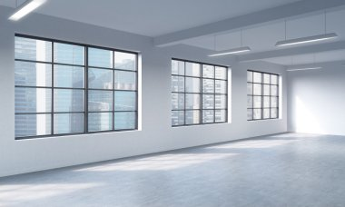 Modern loft style open space can be used whether office space or residential one. 3D rendering. Huge windows and white walls. Singapore City view.