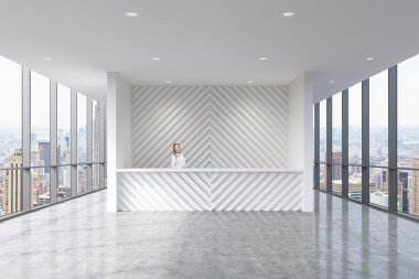 A reception area in a modern bright clean office with beautiful receptionist. Huge panoramic windows with New York city view. A concept of boutique consulting services.