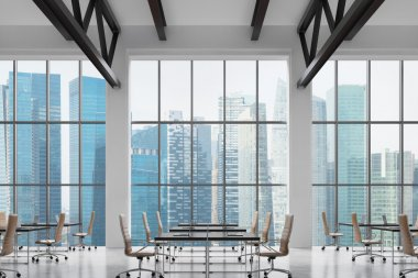 Modern workplaces in a modern bright clean interior of a loft style office. Huge windows with Singapore panoramic view. Black desks equipped with laptops, brown leather chairs. 3D rendering.