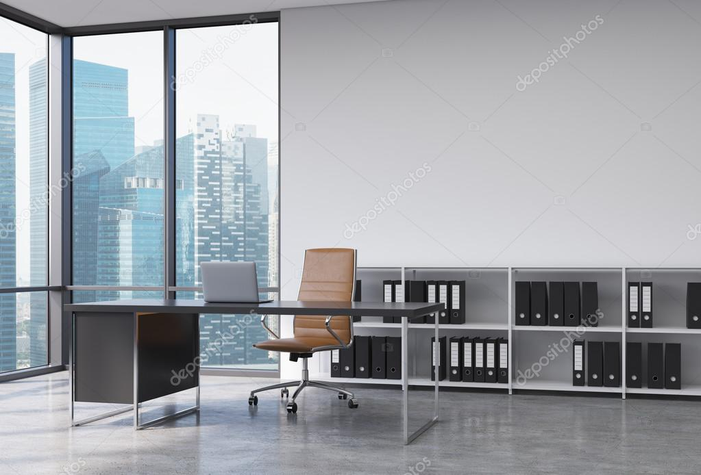 a ceo workplace in a modern corner panoramic office with singapore