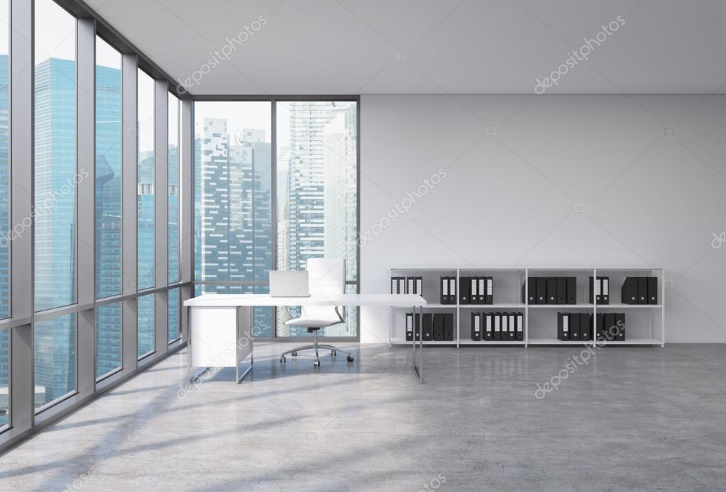 A ceo workplace in a modern corner panoramic office with singapore city view a white desk with a laptop white leather chair and a bookshelf with black