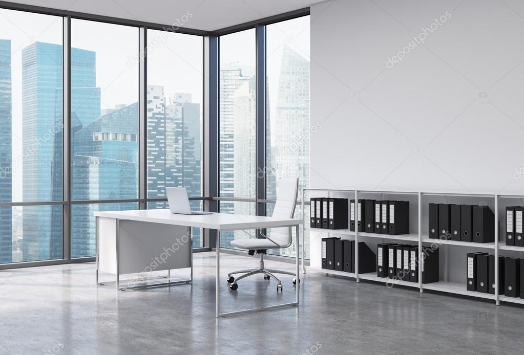 A Ceo Workplace In A Modern Corner Panoramic Office With