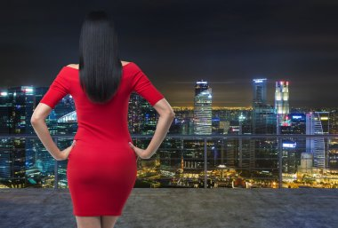 Rear view of gorgeous brunette in red dress posing on modern roof terrace with evening panoramic New York cityscape.