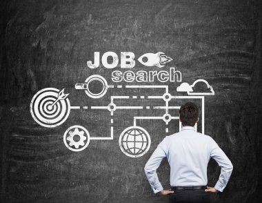 Rear view of a professional who is looking at the black chalk board with drawn icons about job search process.