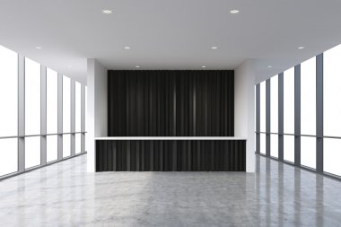 A reception area in a modern bright clean office interior. Huge panoramic windows with white copy space. A concept of boutique consulting services. 3D rendering.