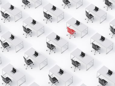 A top view of the symmetric corporate workplaces on white floor. A concept of corporate life. Black leather chairs, white tables and modern laptops. A one chair is a red. 3D rendering.