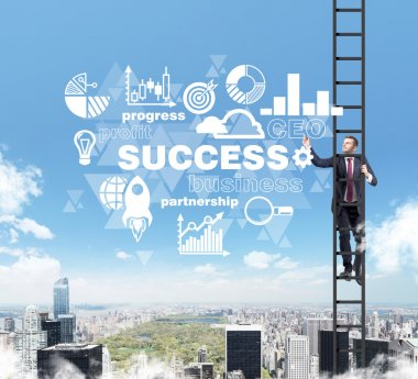 A businessman in a ladder is drawing some business diagram in the air as a concept of success. A cloud flowchart is over New York city.