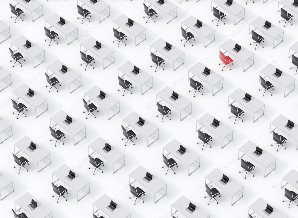 eine draufsicht auf den symmetrischen corporate arbeitspl tze auf wei em boden ein konzept der. Black Bedroom Furniture Sets. Home Design Ideas