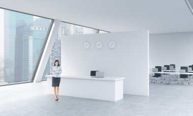 A full length of a beautiful receptionist in a bright modern roof loft office with panoramic Singapore view. The concept of luxury consulting services.