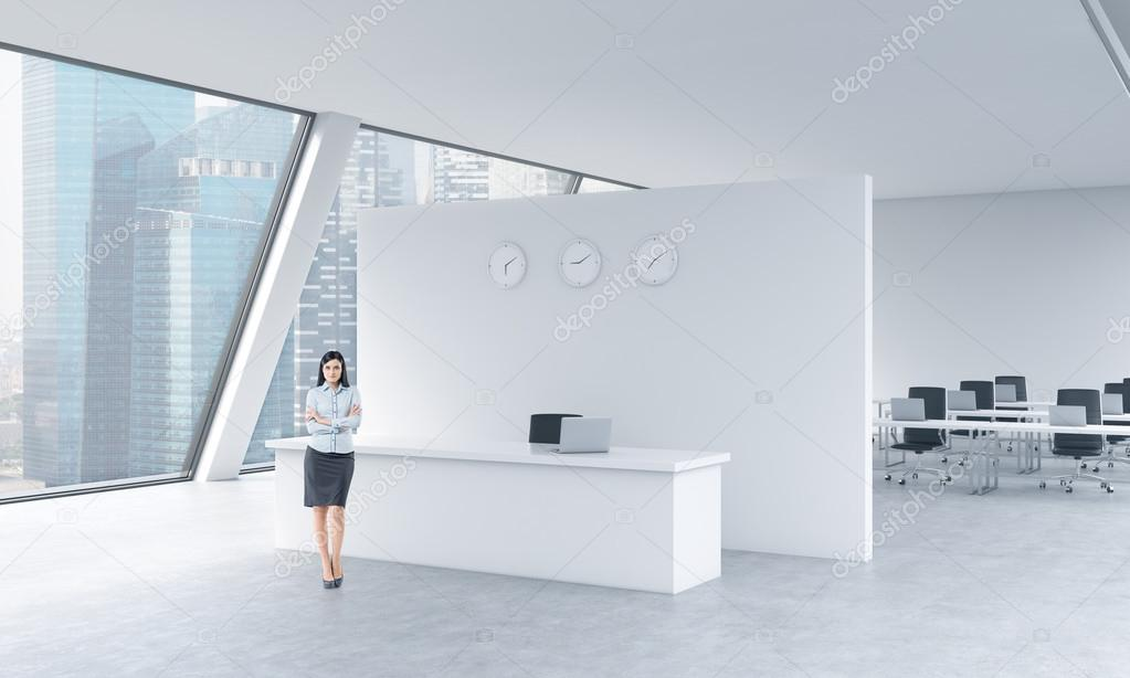 beautiful bright office. A Full Length Of Beautiful Receptionist In Bright Modern Roof Loft Office With Panoramic Singapore View. The Concept Luxury Consulting Services.