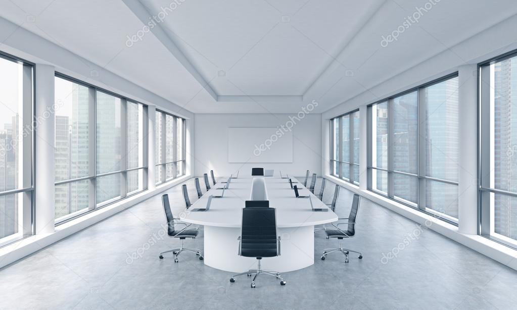 A bright modern panoramic meeting room in a modern office with singapore view the concept of the meeting of the board of director of the huge transnational