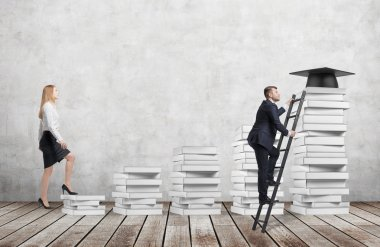 A woman is going up using a stairs which are made of white books to reach graduation hat while a man has found a shortcut to get education. Concrete wall and wooden floor.