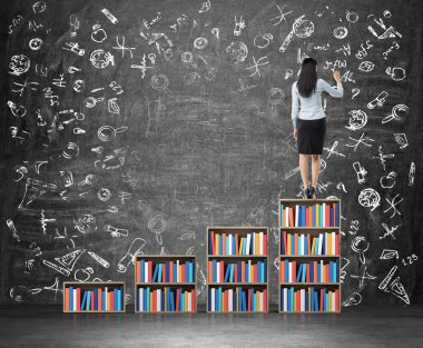 A rear view of brunette woman who is drawing educational icons on the huge chalk board. A ladder made of bookshelf.