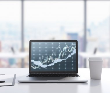 There are a laptop with forex chart on the screen, legal pad and a cup of coffee on the table. 3D rendering. Modern office with panoramic New York view in blur on the background. Toned image.