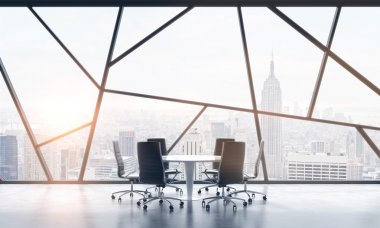 A meeting room in a bright contemporary panoramic office space with New York city view. The concept of highly professional financial or legal services. 3D rendering. Toned image.