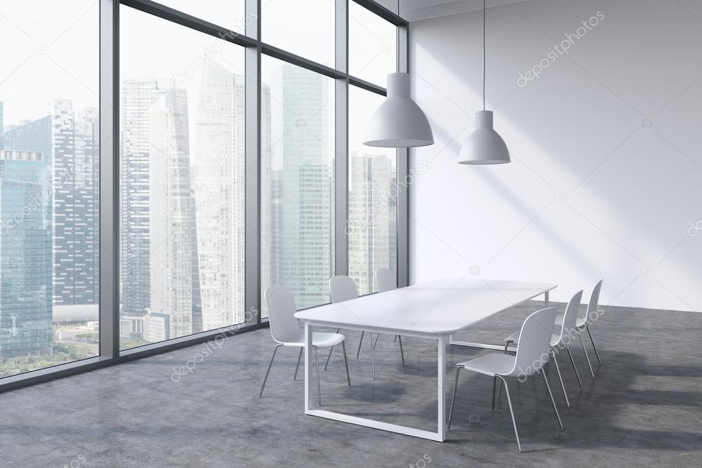 A conference room in a modern panoramic office with Singapore city