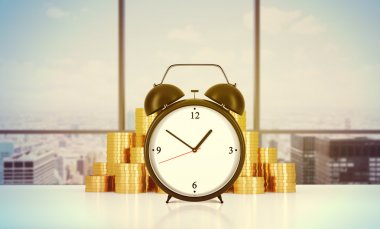 An alarm clock and golden coins are on the table in a modern panoramic office in New York city. A concept of time management or billing the services in consulting companies. 3D rendering. Toned image.