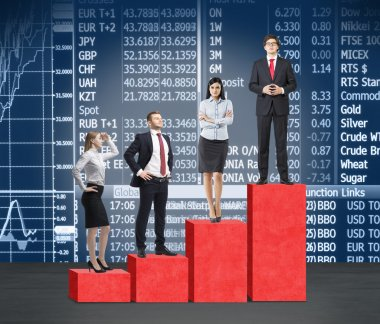 Stairs as a huge red bar chart. Business people are standing on each step as a concept of corporate ladder in financial market. Indices and currency data on the background.