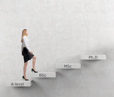 Young lady is going up to the stairs. Steps symbolise level of education. A-levle, Bachelor, Masters and Doctor of Philosophy. Concrete background. Education.