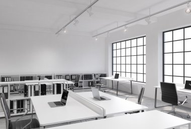 Workplaces in a bright modern loft open space office. Tables equipped with laptops; corporate documents' shelves. White copy space in the panoramic windows. 3D rendering.