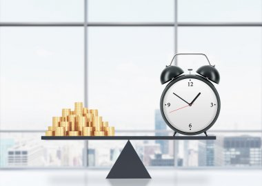 A balance between time and money. On the one side is money, on the other one is an alarm clock. The concept of time is money. An office with New York panoramic view. 3D rendering.