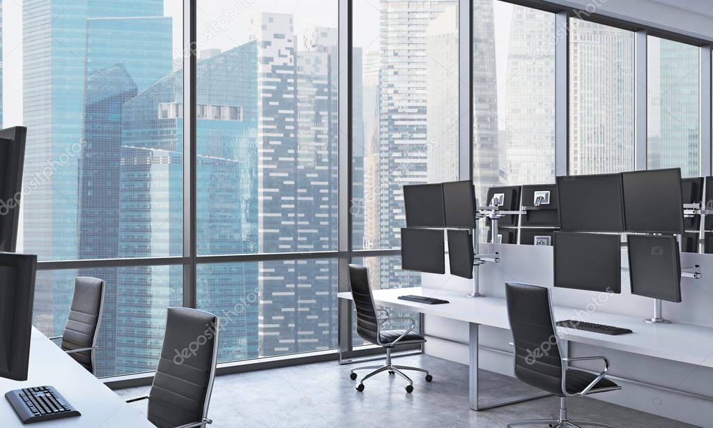 Les lieux de travail dun trader moderne dans un bureau moderne et