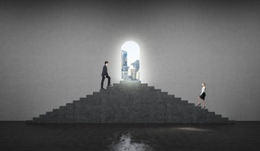A man and a woman in formal clothes are going up to the stairs. The concept of corporate competition. A view on the business city in the open door.