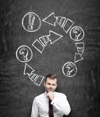 A thoughtful businessman is holding his chin. Drawn arrows with exclamation and question marks on the black chalkboard behind the person. stock vector