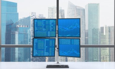 A modern trader's workplace or station which consists of four screens with financial data in a bright modern open space panoramic office. Singapore panoramic view. Forex. 3D rendering.