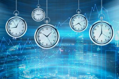 Four models of pocket watches are hovering in the air over financial graphs background. A concept of a value of time in financial markets. New York view on background. 3D rendering.