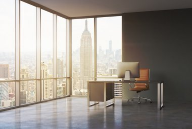 A workplace in a modern corner panoramic office with sunset New York view. A black desk with a modern computer and brown leather chair. A concept of consulting services. 3D rendering. Toned image.
