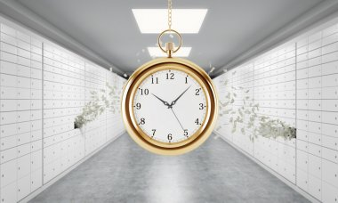 A gold pocket watch on the chain in a room with safe deposit boxes and dollar notes are flying out from one box. A concept of storing of valuables in a safe and secure environment. 3D rendering.