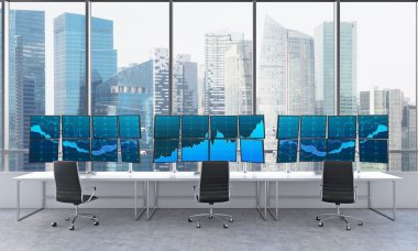 office with 24 switched on monitors, processing data, trading, s